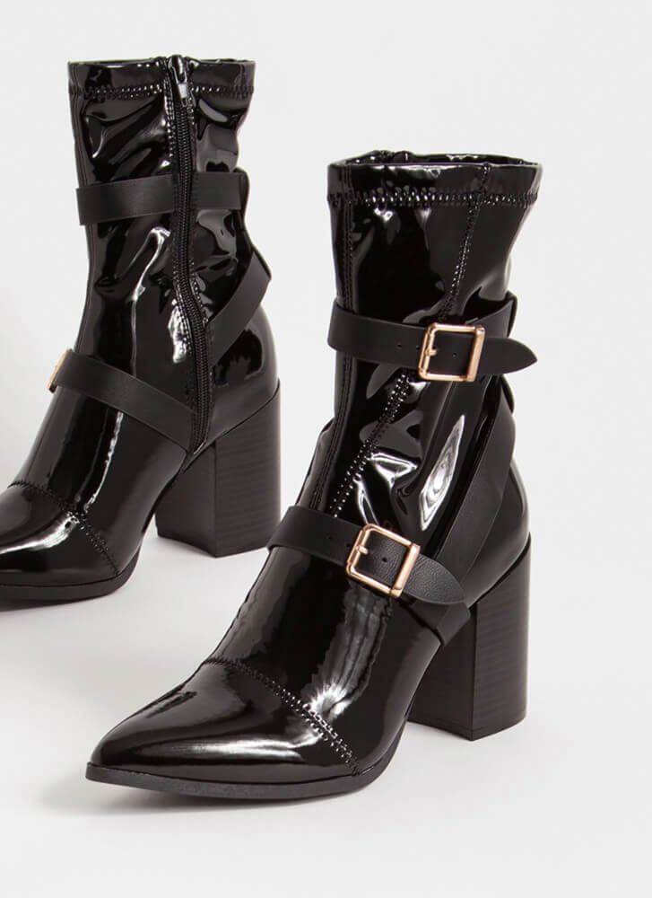 London Strappy Faux Patent Booties BLACK