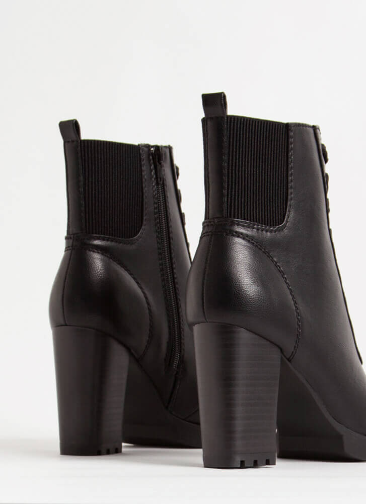 Go For It Chunky Lace-Up Booties BLACK