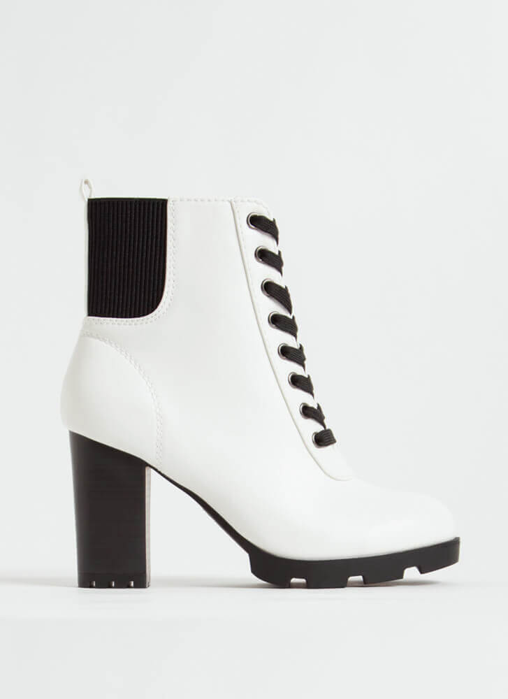 Go For It Chunky Lace-Up Booties WHITE