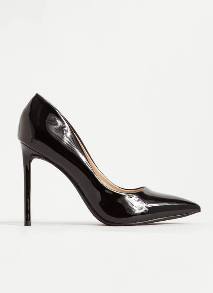 Glossy Pointy Faux Patent Stiletto Pumps BLACK