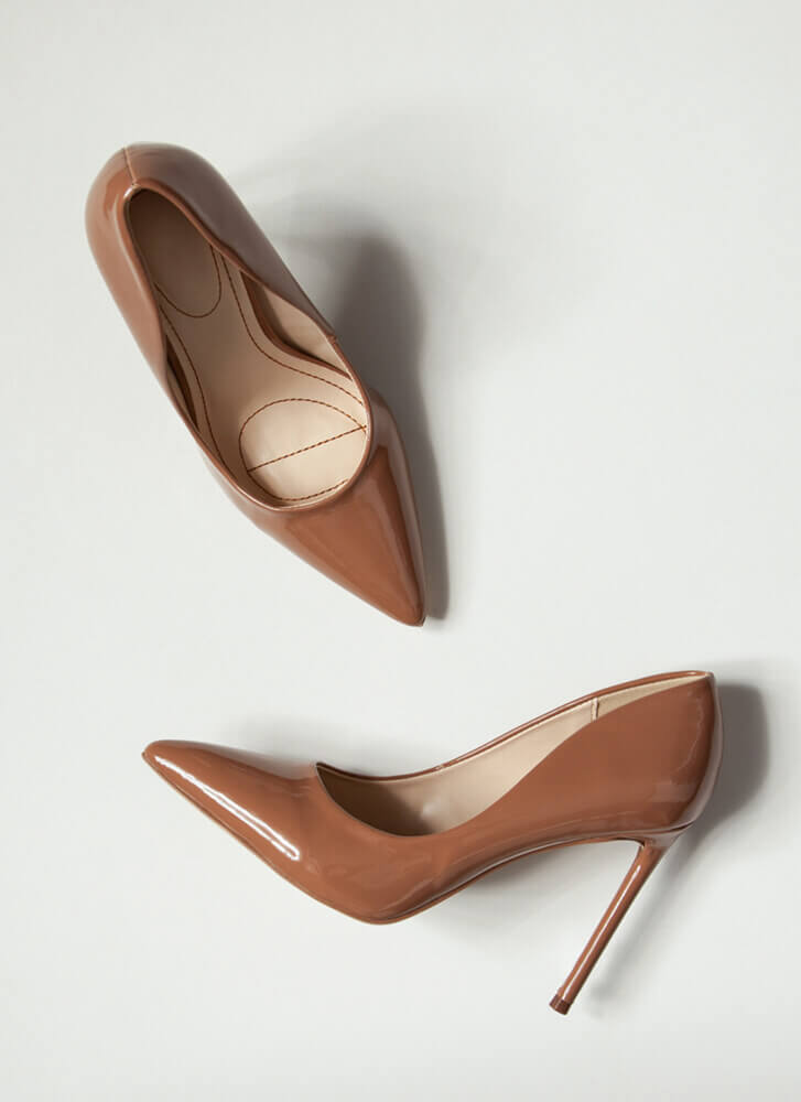 Glossy Pointy Faux Patent Stiletto Pumps CAMEL