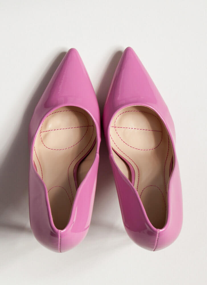 Glossy Pointy Faux Patent Stiletto Pumps HOTPINK
