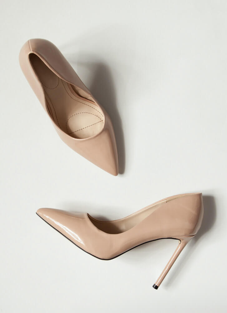 Glossy Pointy Faux Patent Stiletto Pumps NUDE