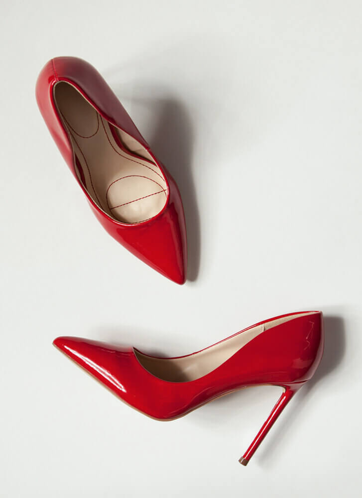 Glossy Pointy Faux Patent Stiletto Pumps RED