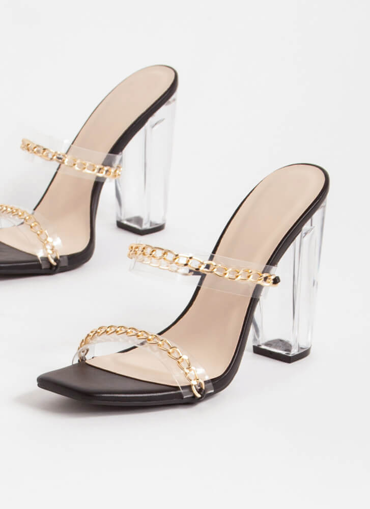 Clear Link Faux Leather Chain Heels BLACK