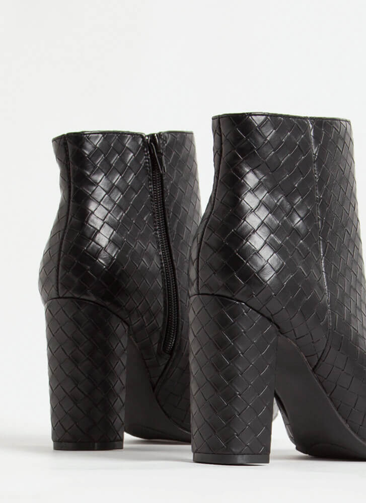 The Perfect Texture Chunky Woven Booties BLACK