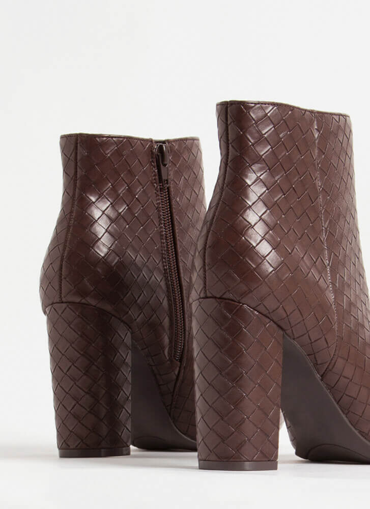 The Perfect Texture Chunky Woven Booties BROWN