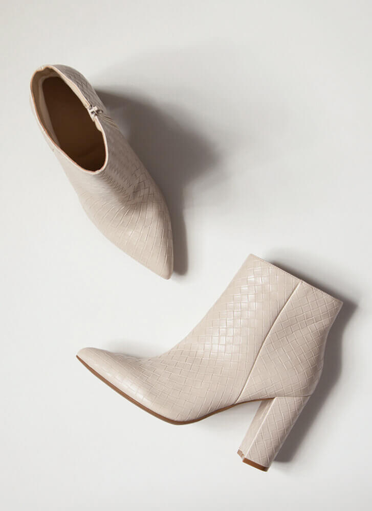 The Perfect Texture Chunky Woven Booties IVORY