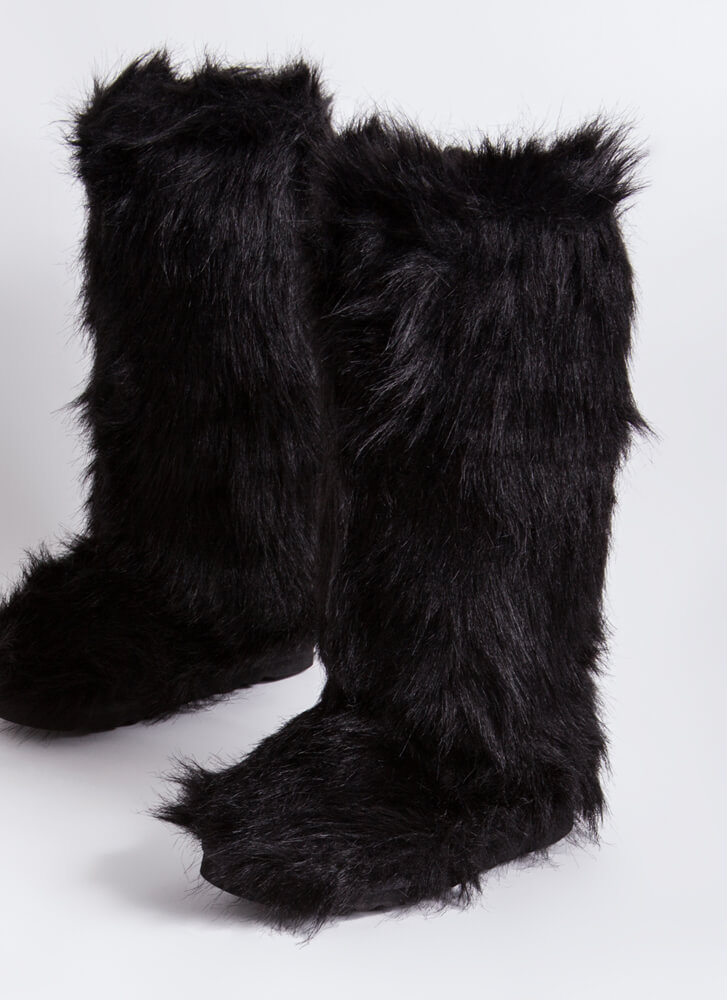 Animal Lover Shaggy Faux Fur Boots BLACK