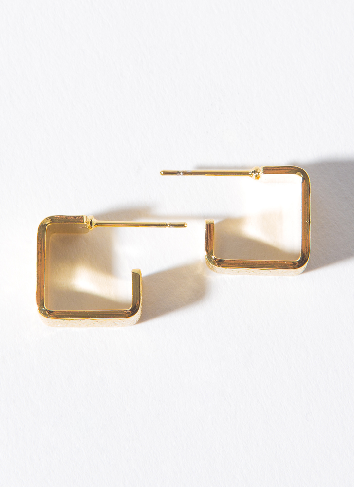 Square Off Tiny Textured Chunky Hoops GOLD