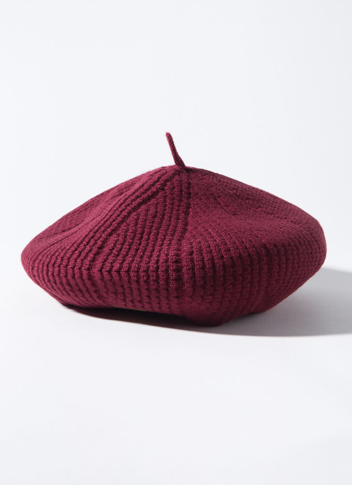 Acorn Collector Puffy Rib Knit Beret BERRY
