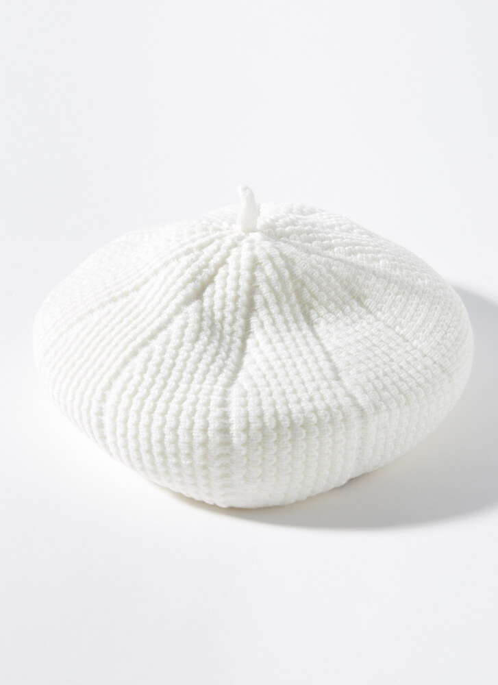 Acorn Collector Puffy Rib Knit Beret IVORY