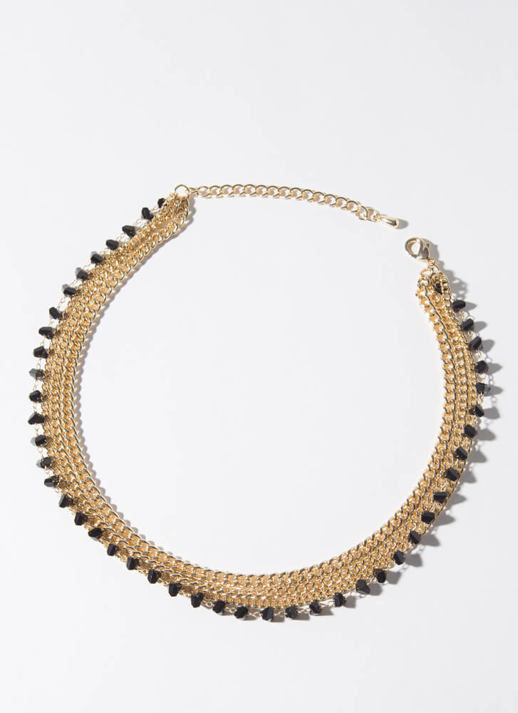 Unhidden Gems Stacked Chain Necklace BLACKGOLD
