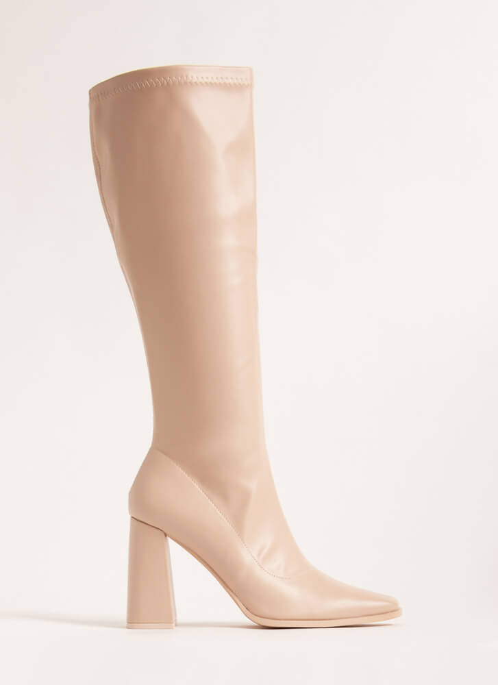Walkin' Faux Leather Knee-High Boots CREAM
