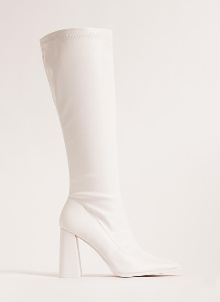 Walkin' Faux Leather Knee-High Boots WHITE