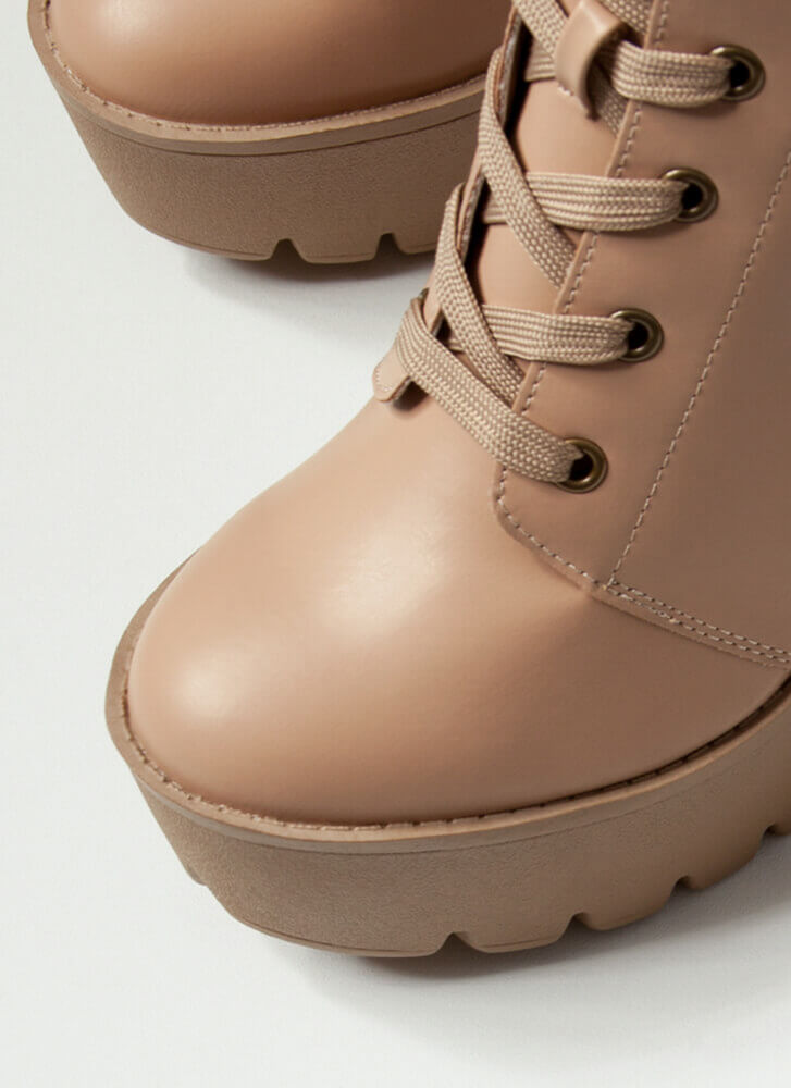 I'm Strapped Chunky Platform Booties CAMEL