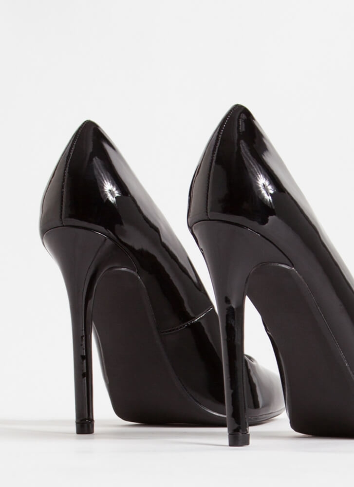 Gloss Over Pointy Faux Patent Pumps BLACK