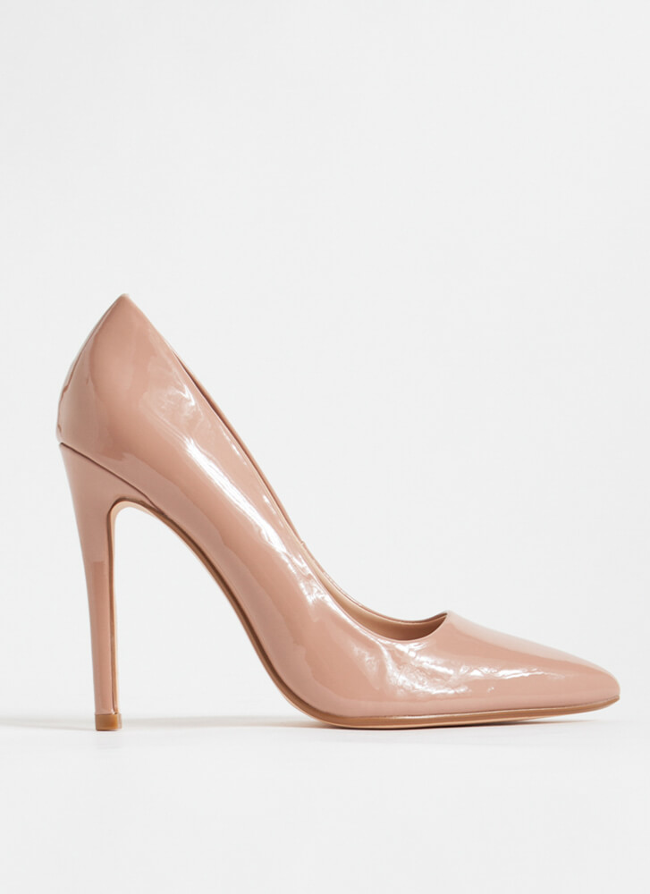 Gloss Over Pointy Faux Patent Pumps TAUPE