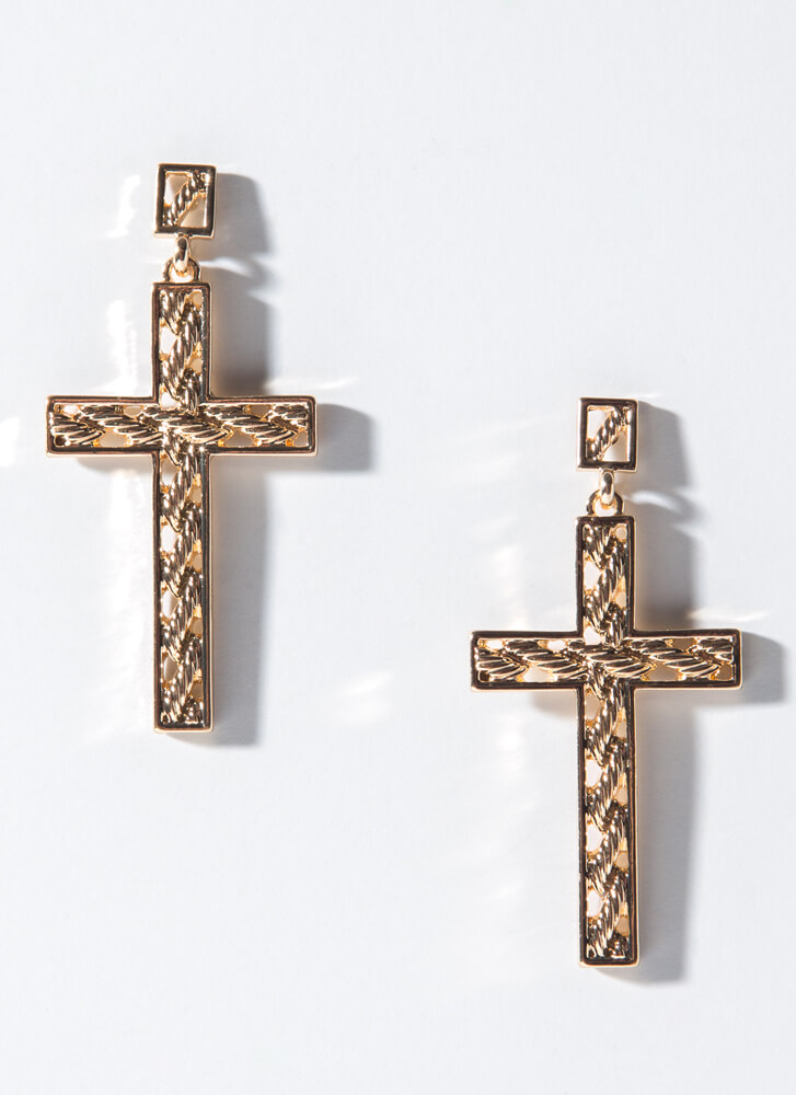 Unexpected Twist Cut-Out Cross Earrings GOLD