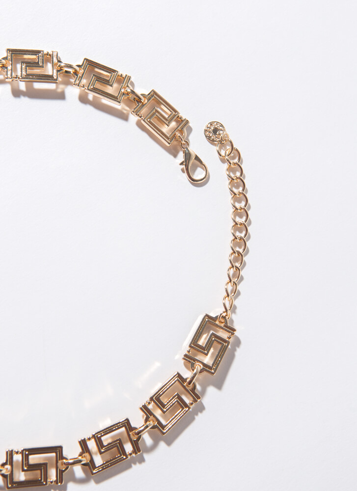 Luxe Lion Greek Key Charm Necklace GOLD