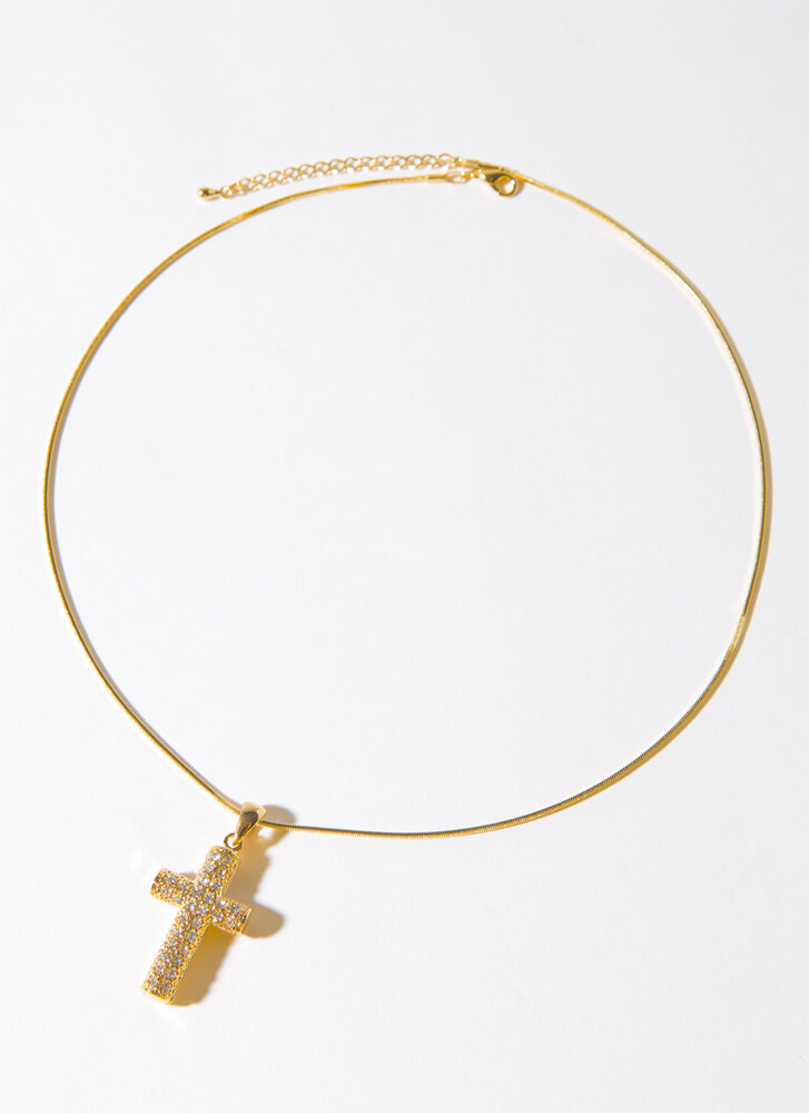 Believe It Chunky Jewel Cross Necklace GOLDCLEAR