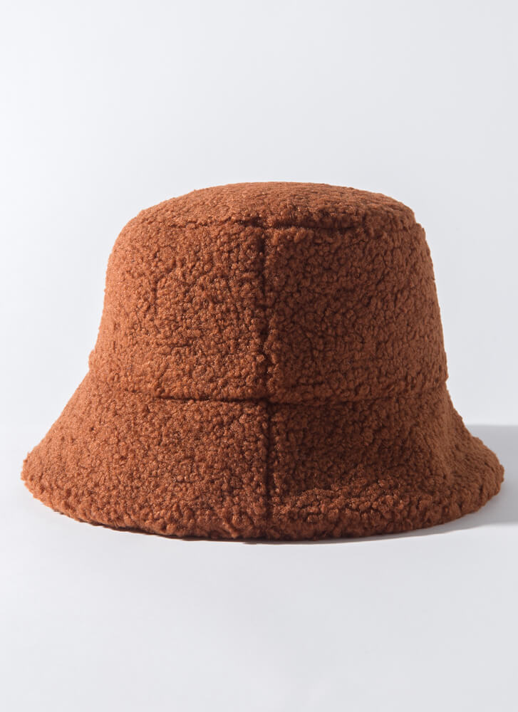 Texturized Faux Shearling Bucket Hat RUST