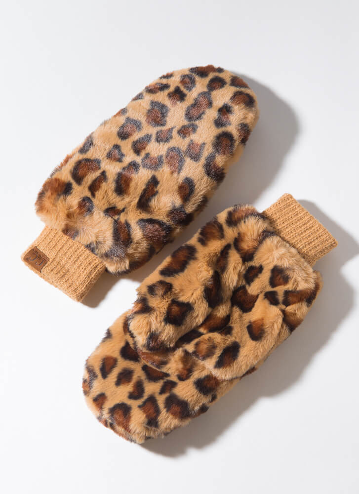 Out In The Wild Furry Leopard Mittens LATTE