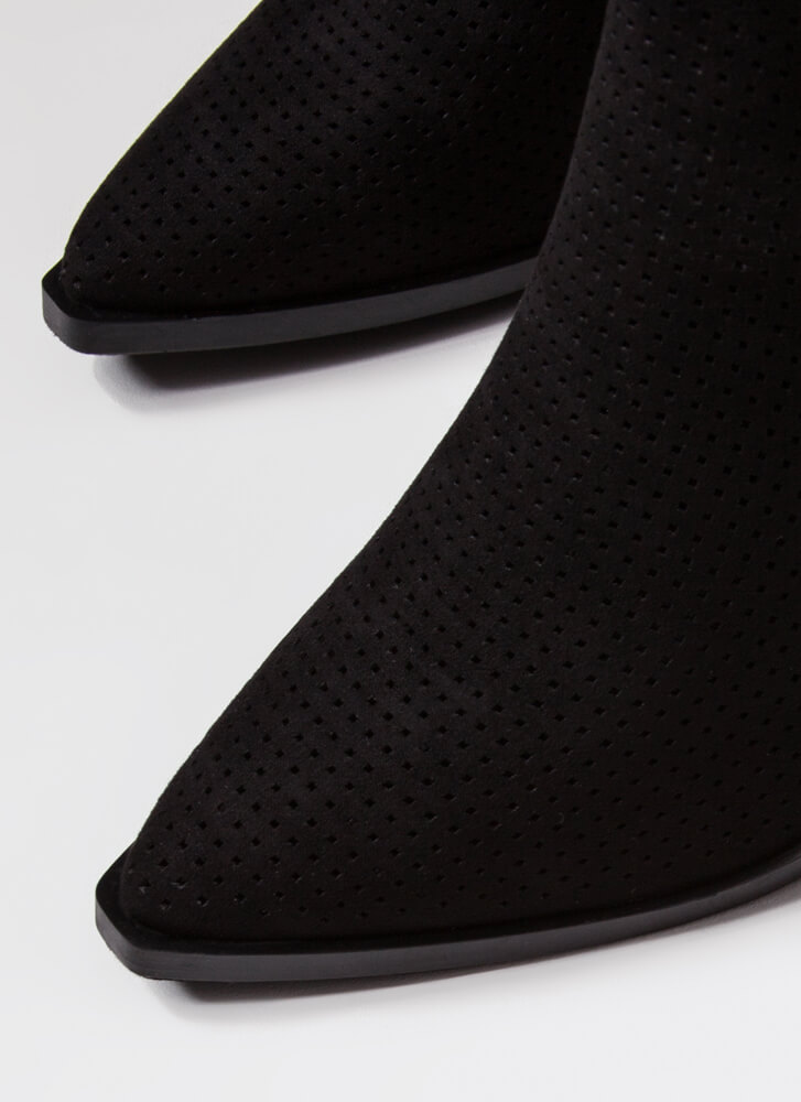 Hole Up Chunky Pointy Perforated Booties BLACK