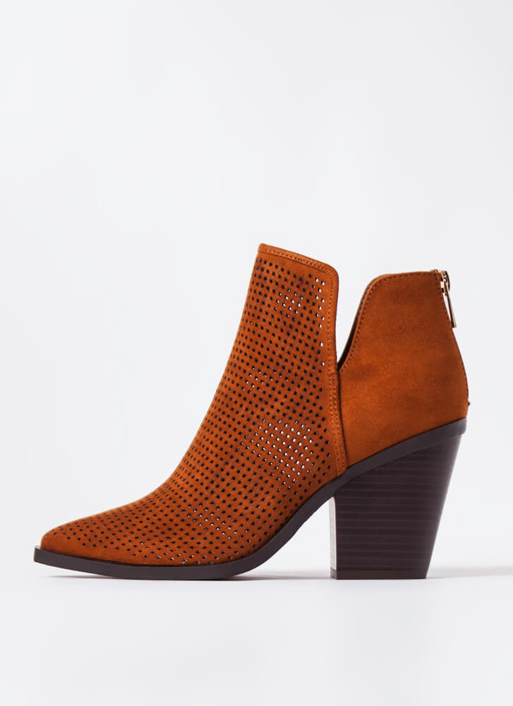 Hole Up Chunky Pointy Perforated Booties CHESTNUT