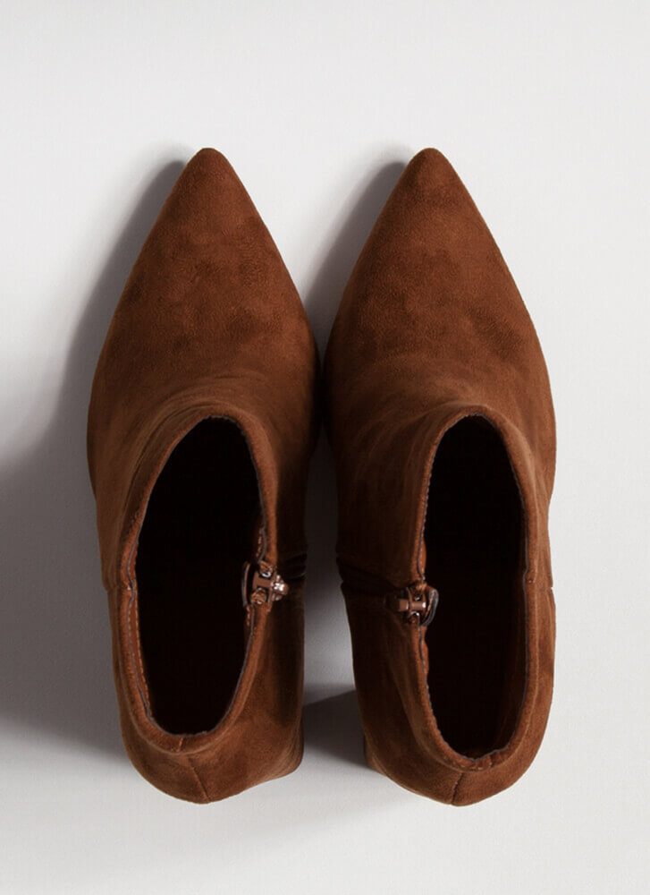 Point Of No Return Faux Suede Booties TOBACCO