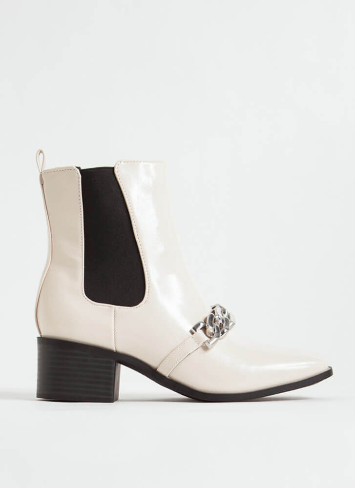 Chain Of Command Faux Patent Booties IVORY