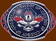 Cowboy Up 'Flaming Skull'Buckle