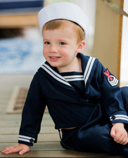 Vintage Navy Long Sleeved Sailor Suit with White Braid Trim (SS0489A)