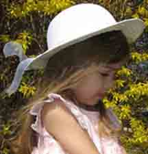 NEW White Woven Hat with Satin Back Bow and Organdy Streamers (BB1150)