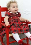 NEW Anavini Red Plaid Smocked Dress with White Collar (HOC1620) and NEW White Tights with Red Ruffled Bottom and Red Dotted Mary Jane Style Feet (LC1149)