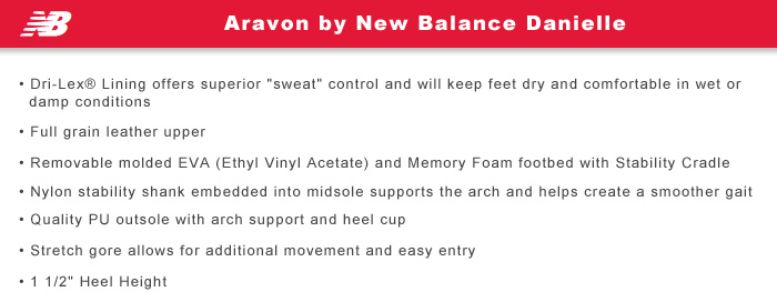 Aravon by New Balance Features Information: Danielle