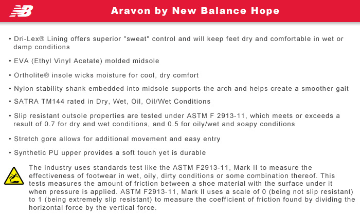 Aravon by New Balance Features Information: Hope