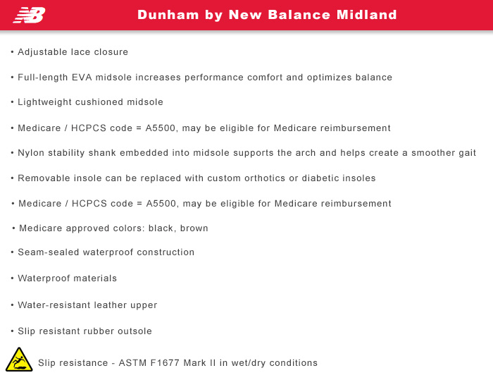 Dunham by New Balance Features Information: Midland