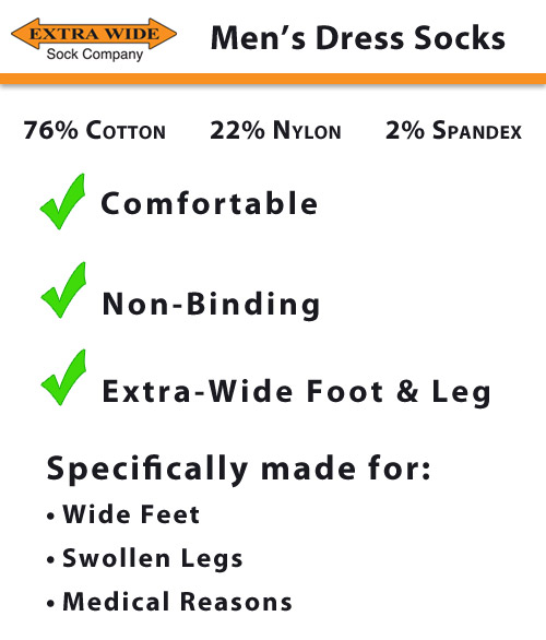 Extra Wide Sock Company Dress Socks for Men Features