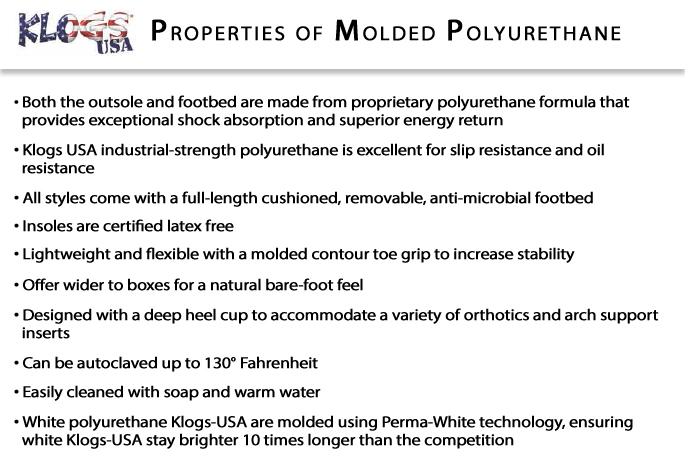 Klogs Polyurethane Collection Information: Bistro Clog
