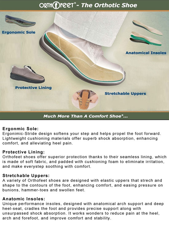 Orthofeet The Orthotic Shoe Features.