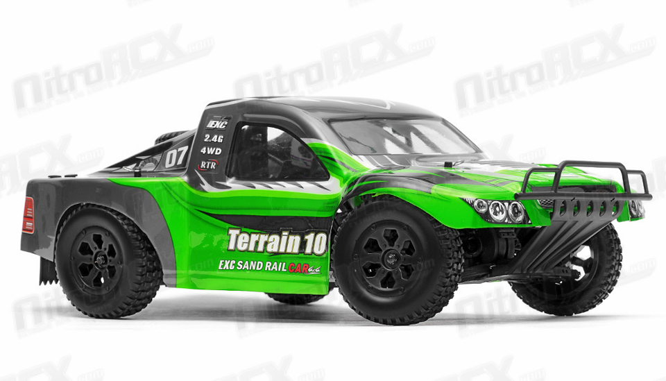 exceed rc racing terrain 1 10 scale short course truck ready to run aa green rc remote. Black Bedroom Furniture Sets. Home Design Ideas
