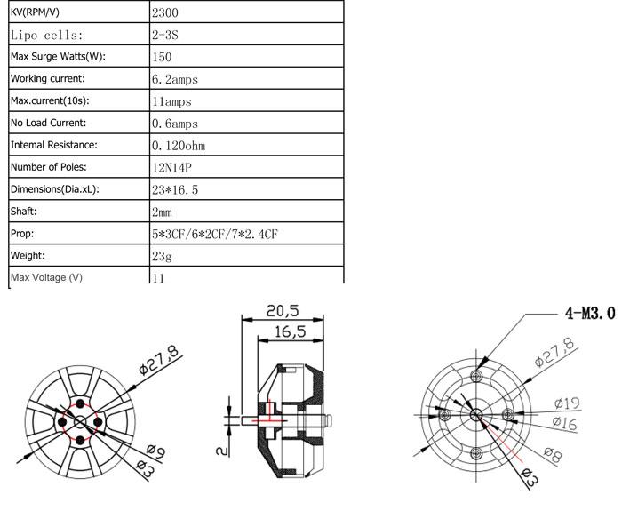 AeroSky Performance Brushless Multi-Rotor Drone Motor MC2204-2300KV on