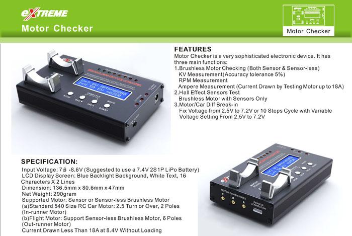 Extreme BMC-01 Brushless Motor Checker w/ Hall Effect Sensor Test & Car Diff. Break In 26P-MotorChecker