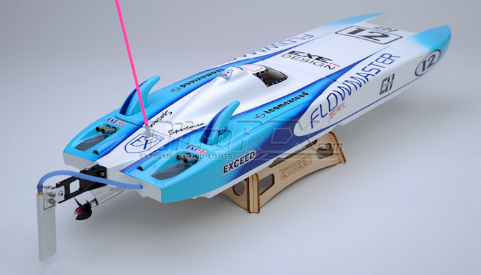 Exceed Racing Electric Powered Fiberglass Catamaran 650mm Brushless Almost Ready to Run RC Boat ...