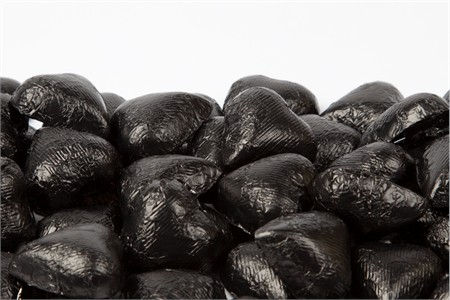 Black Foiled Milk Chocolate Hearts (1 Pound Bag)