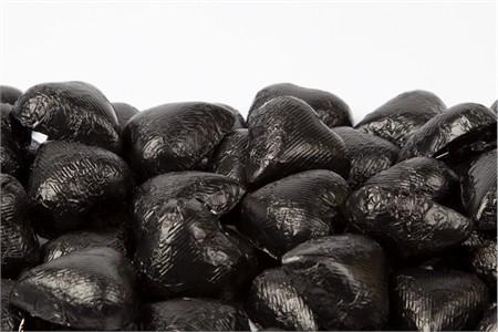 Black Foiled Milk Chocolate Hearts (25 Pound Case)
