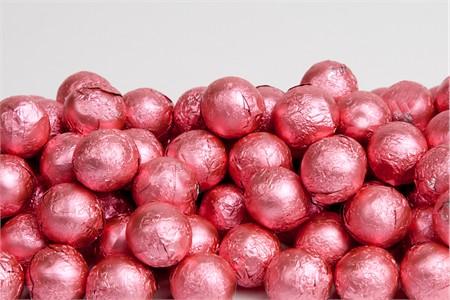 Bright Pink Foiled Milk Chocolate Balls (10 Pound Case)