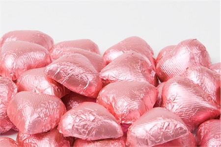 Bright Pink Foiled Milk Chocolate Hearts (10 Pound Case)