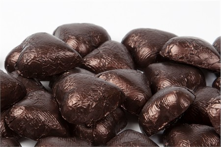 Brown Foiled Milk Chocolate Hearts (25 Pound Case)